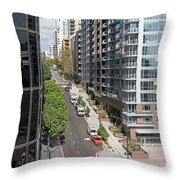 The Rey Apartment Building Throw Pillow