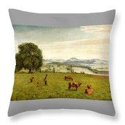 The Rhine Valley Near Sackingen Throw Pillow