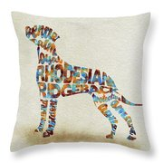 The Rhodesian Ridgeback Dog Watercolor Painting / Typographic Art Throw Pillow