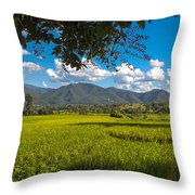 The Rice Fields Of Pai, Thailnad Throw Pillow