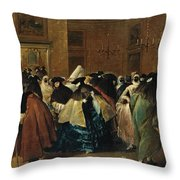 The Ridotto In Venice With Masked Figures Conversing Throw Pillow