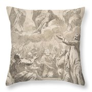 The Risen Christ Between The Virgin And St. Joseph Appearing To St. Peter And Other Apostles Throw Pillow