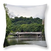 The River And Bridges At Burton On Trent Throw Pillow