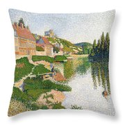 The River Bank Throw Pillow by Paul Signac