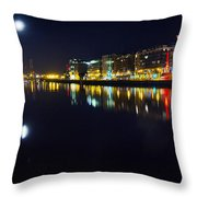 The River Liffey Night Romance Throw Pillow