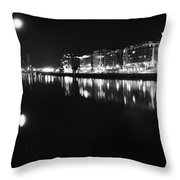 The River Liffey Night Romance Bw Throw Pillow
