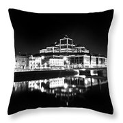 The River Liffey Reflections 2 Bw Throw Pillow