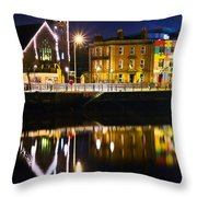 The River Liffey Reflections Throw Pillow