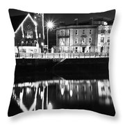 The River Liffey Reflections Bw Throw Pillow
