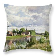 The River Oise Near Pontoise Throw Pillow by Camille Pissarro