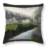 Grayscale The River Throw Pillow