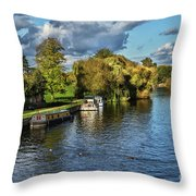 The River Thames At Wallingford Throw Pillow