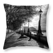 The River Thames Path Throw Pillow
