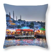 The Riverboats Of Istanbul Throw Pillow