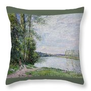 The Riverside Road From Veneux  Throw Pillow