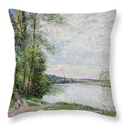 The Riverside Road From Veneux To Thomery Throw Pillow