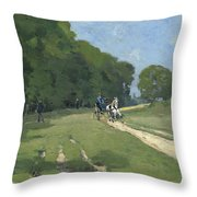 The Road Near The Park Of Courances Throw Pillow