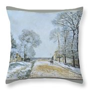 The Road, Snow Effect Throw Pillow