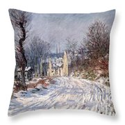 The Road To Giverny In Winter Throw Pillow by Claude Monet