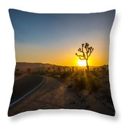 The Road To Joshua Tree At Sunset Throw Pillow