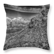 The Road To The Tunnel Bw Throw Pillow