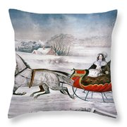 The Road-winter, 1853 Throw Pillow