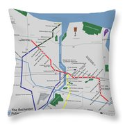 The Rochester Pubway Map Throw Pillow