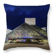The Rock And Roll Hall Of Fame At Dusk Throw Pillow