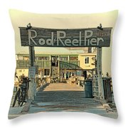 The Rod And Reel Pier Vintage   Throw Pillow
