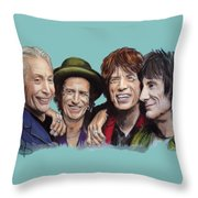 The Rolling Tongues Throw Pillow