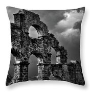 The Roman Aqueduct At Aspendos, Turkey.    Black And White Throw Pillow
