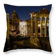 The Roman Forum At Night Throw Pillow