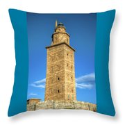 The Roman Lighthouse Known As Tower Of Hercules Throw Pillow