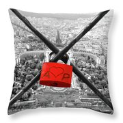 The Romantically Love Inscribed Padlocks On The Eiffel Tower, Pa Throw Pillow