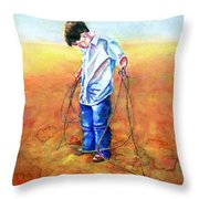 The Roping Lesson Throw Pillow