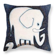An Elephant On A Turtle Throw Pillow