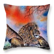 The Royal Lions Of The Mara Throw Pillow