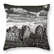 The Rugged Red Rocks In Black And White  Throw Pillow