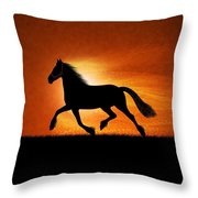 The Running Horse Background Throw Pillow