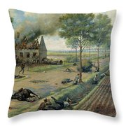 The Russian Cavalry Fighting The Germans In A Village In 1915 Throw Pillow by Viktor Viketyevich Masurovsky