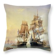 The Russian Cutter Mercury Captures The Swedish Frigate Venus On 21st May 1789 Throw Pillow by Aleksei Petrovich Bogolyubov