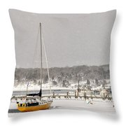 The Sailboat Korovin Is Moored In A Mostly Frozen Stage Harbor I Throw Pillow