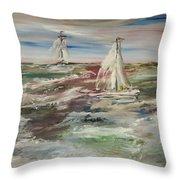 The Sailboat Race Throw Pillow