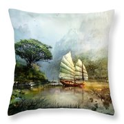 Sailing Boat In The Lake Throw Pillow