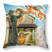 The Saint And The Angels Throw Pillow