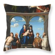 The Saint Anne Altarpiece From San Frediano Lucca Throw Pillow