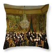 The Salon Of Alfred Emilien At The Louvre Throw Pillow by Francois Auguste Biard