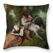The Scale Of Love Throw Pillow by Jean-Antoine Watteau