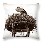 The Schierstein Stork Sepia Throw Pillow