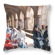 The Scottish Women's Hospital - In The Cloister Of The Abbaye At Royaumont. Throw Pillow